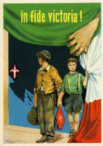 Cartolina allegorica con piccoli ospiti Esuli